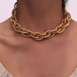 18k gold plated choker Cuban Necklace